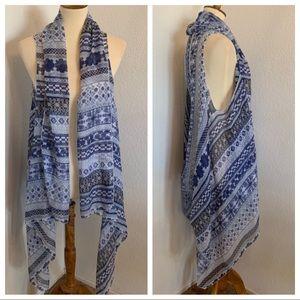 Blue & White Bohemian Kimono Vest Scarf Wrap